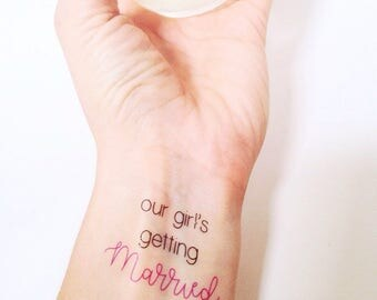 Our Girl's Getting Married Bachelorette Party Temporary Tattoos, Bride Tribe Tattoos, Bridal Party Tattoos, Bachelorette Party Favors, Bride