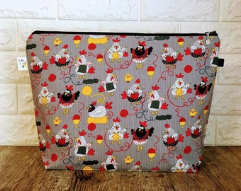 Large Zippered Knitting Project Bag, Knitting project bag, Wedge Project Bag, Large Project Bag, Knitting Chickens Bag, Yarn Bag