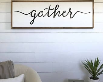 Wall Decor | Gather Sign | Wood Sign | Farmhouse Wall Decor | Framed Sign |