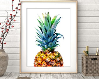 Pineapple Print, Pineapple Wall Art, Pineapple Decor, Tropical Decor, Pineapple Art, Printable Art, Pineapple Digital Art Instant Download