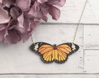 Yellow Butterfly Necklace, Butterfly Jewellery, Butterfly, Laser cut pendant, Laser cut jewellery, wooden jewellery, laser cut necklace