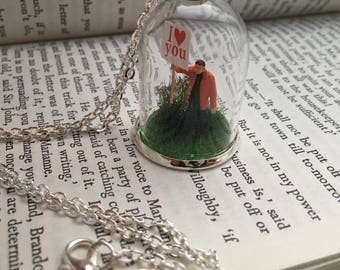 I Love You Terrarium Necklace, Miniature people, love token, miniature terrarium, miniature necklace, banner, love gift, gifts for her