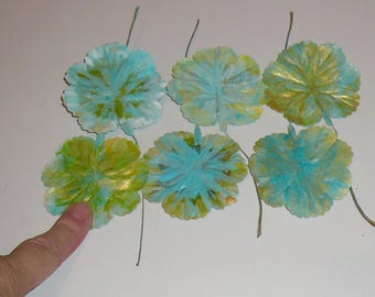Aqua Leaves Floral Supplies Gold Leaves Set Handpainted Aqua Leaves Hatmaking Hair Oranment Supplies Wedding Supplies