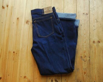 Vintage 80's NOS Deadstock American Style Blue Denim Jeans by Jet Heavies 34x34 Made in England