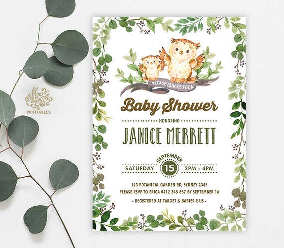 Owl baby shower invitation woodland greenery baby shower invite il570xn filmwisefo