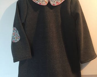 Dress in grey fleece dark Peter Pan collar in liberty Betsy porcelain