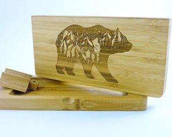 Rolling Tray - Magnetic - Bamboo Rolling Tray - Mountain Bear