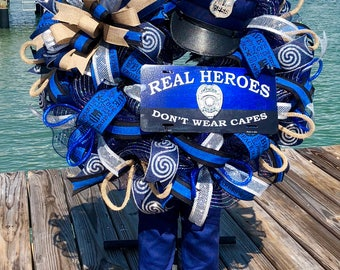 Police wreath, Police officer gifts, Police gifts, Police officer decor, Gifts for police officer, Retirement gift for police officer