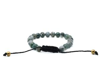 Moss Agate Bracelet - Green Bracelet, Vegan Jewellery, Gifts for Her, Nature Jewellery, Hemp Bracelet, Beaded Hemp Bracelet