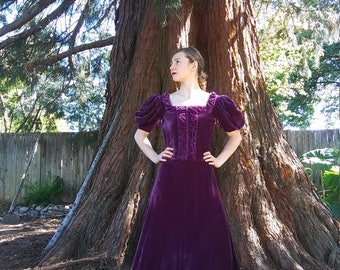 1930s plum silk velvet floor length gown // small