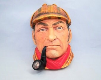 Legend Products Sherlock Holmes 3D Chalkware Bust Wall Decor made in England 1981.