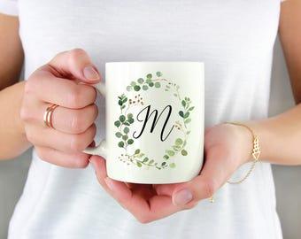 Custom Monogram Wreath Mug, Watercolor Wreath, For Her, Cute Mug, Mug Gift, Birthday, Monogram Gift, Coffee, Custom, Personalized, Initial