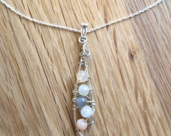 Handmade necklace with Moonstone Pendant