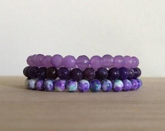 Purple Harmony Stack, Lepidolite, Jade, 3 bracelets, gemstone bracelets, healing crystals, spiritual jewelry, crown chakra