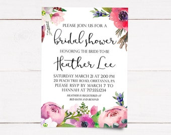 Floral Bridal Shower Invitation | Printable