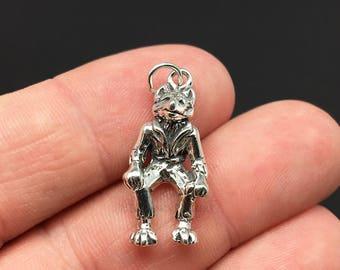3D Sterling Silver Wolfman Charm, Werewolf, Monster, Halloween, .925 Silver, DIY, Bracelet Charms, Nickel Free (C403)