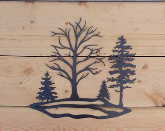 Metal Tree Art, Wall Art, Decoration, Rustic, Silhouette, Tree, Multiple, Rock