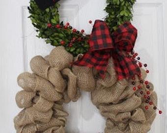 Christmas wreath ,Snowman Wreath ,   Boxwood Burlap  wreath ,Preserved Boxwood Wreath   , Burlap wreath outdoor wreath ,Front door Wreath