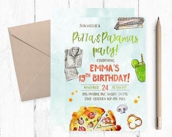 Pizza Pajamas Invitation, Pizza  Birthday Party, Pizza Pajamas Invitations,  Pizza Sleepover, Sleepover Birthday Party, Slumber party,