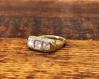Antique 1920s yellow gold filigree Art Deco ring with three diamonds set in white gold engagement ring diamond ring