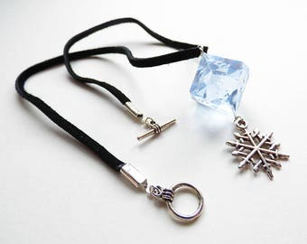 Ice Queen - Dungeons and Dragons D10, Necklace, Pendant, blue, silver, snow, RPG, D&D, Jewellery, Dice, d20, dnd, cold, frozen, snowflake