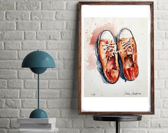 "Original watercolor painting-free shipping ""Sneakers Converse All star red orange"" (basketshoes painting watercolor painting)"