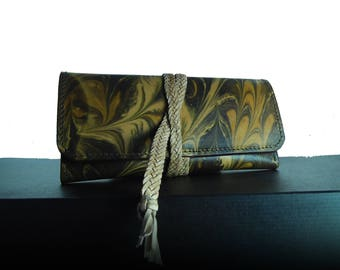 Hand marbled wallet clutch vegetabiles leather Wallet
