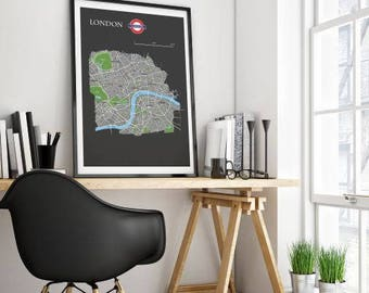 London map print, london city map illustrated, Map of London, Custom Maps, London wall art