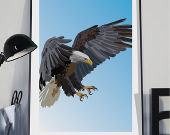 American Eagle art print. American Eagle illustration, Bird art, Bald Eagle art, Bird Illustration