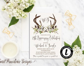 Anniversary invitation/ 25th Anniversary Invitation /  Rustic Cotton Boll Greenery Invitation /Rustic editable Invitation/ Instant Download