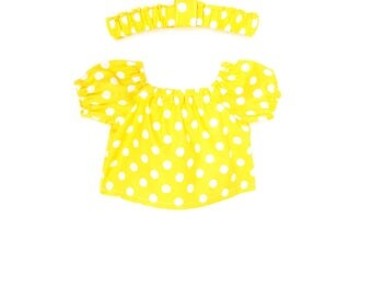 Baby Peasant Top, Headband, Polka Dot, Yellow, White, Spring, Summer, Bitty Baby, Bitty Twin, 15 inch Doll Clothes