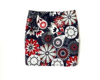 Pencil Skirt, Floral, Navy Blue, Red, White, Fits dolls such as American Girl, 18 inch Doll Clothes