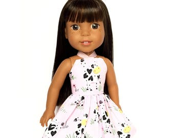 Halter Dress, Farm, Cows, Pink,  White, Black, Yellow, 14.5, Fits dolls such as American Girl, Wellie Wishers, 14 inch Doll Clothes
