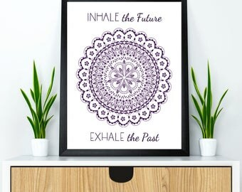 Meditation wall art, Mandala poster, Inhale exhale poster, Yoga poster, Yoga wall art, Yoga wall decor, Inspirational and relaxation quote