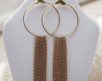 Gold Hoop and Tassel Earrings