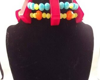 Vintage Plastic Beads Choker Dangle Earrings