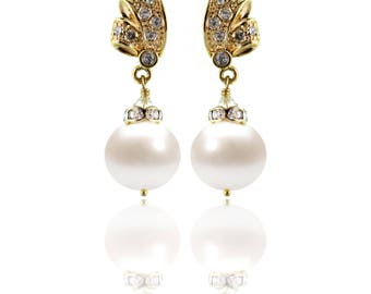 Freshwater Pearl Drop Earrings - Bridal or Bridesmaid - Swarovski Crystals, 24k Gold Plate - Style  1105 - Ready to Ship