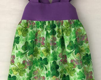 St. Patrick's Day Dress, Shamrocks Dress, Baby Girls Dress, Little Girls Dress, Girls Clothing, Toddler Dress, Childs Dress, Flutter Sleeve