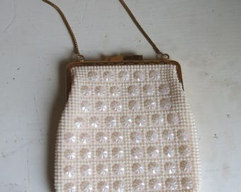 1950s white beaded purse/ 1950s evening bag/ vintage purse