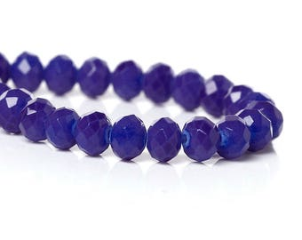 50 beads faceted Midnight blue glass 4x3mm / oval beads
