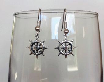 Ship Wheel Necklace, Silver Ships Wheel Charm, Ships Wheel Earrings, Nautical Earrings