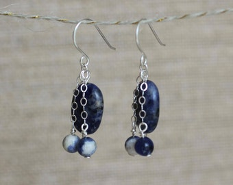 Sodalite Stone Dangle Earrings - Sterling Silver Chain Sterling Silver Wire