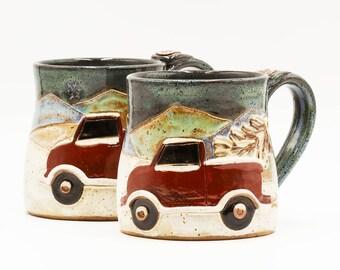 Christmas Truck Mug | Christmas Mug | Pottery Mug | Ceramic Mug | Stoneware Mug | Handmade Pottery | Christmas Gift | Winter Gift