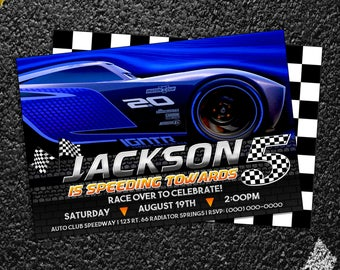 Custom Cars 3 Jackson Storm Birthday Party Invitation - 5x7 or 4x6
