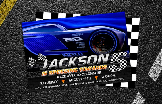 custom cars 3 jackson storm birthday party invitation 5x7 or