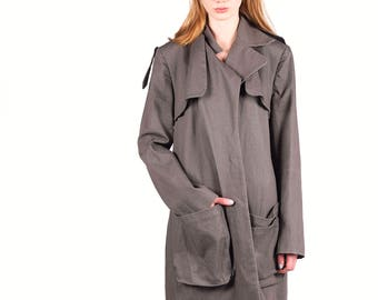 One Shade of Grey Denim Oversize Natural Trench Jacket