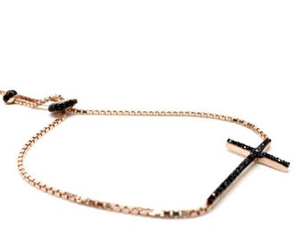 Italian Women's jewellery Cross, Religious Bracelet 925 Sterling Silver, Rose Gold, Gift box included. Blue and black Stones Cross available