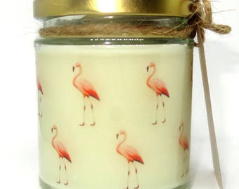 Flamingo Candle, Strawberry Scented Jar Candle gift, Halloween, Pagan, Wicca, Soy wax, Christmas, Holidays Gift, Yule