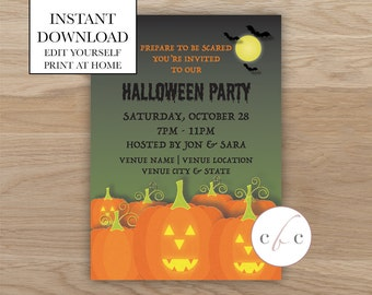 DIY Printable Spooky Halloween Invite - Holiday/Editable/Digital Download
