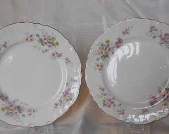 Homer Laughlin L48N6 dinner plates - Made in the USA - white, pink and yellow daisies with gold trim - set of 2